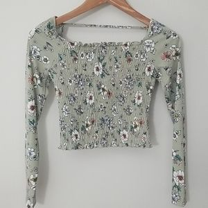 Long sleeve square neck smocked top